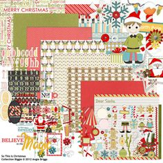 Look at this adorable digital scrapbooking kit by Angie Briggs! So This Is Christmas Collection Biggie!  #digitalscrapbooking #scrapgirls #digitalchristmaskit