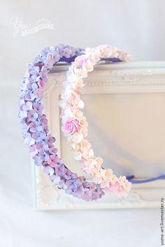 """Ободок с цветами из полимерной глины """"Сирень"""" - ободок для волос, ободок с…"""