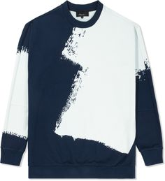 3.1 Phillip Lim - Navy/Ivory L/S Pullover Sweater with Brushstroke Print