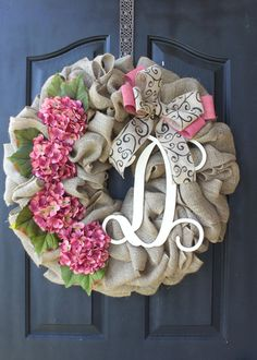 Hydrangea Wreath - Burlap Wreath - Wedding Wreaths - Door Wreath - Etsy Wreath - Shabby Chic Decor - Summer wreath - Home decor- Spring Wreath - We