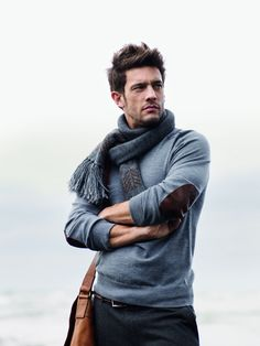 Jonathan Caillat—Trenery Autumn/Winter 2010, blue pullover with brown elbow patches and a matching scarf.