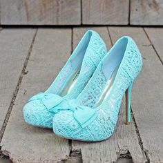 Cute blue lace heels with bow <3