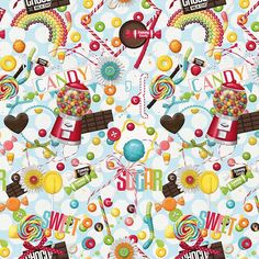 Candy Lollipop Sweets Photo Digital Printed Full Colour Designer Cotton Curtain Upholstery Fabric - Free UK Postage
