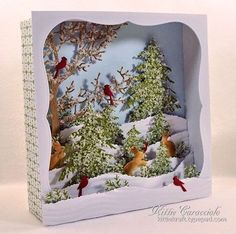 KC Impression Obsession Tree Frame - Candy Box Winter Scene Diorama could use old christmas cards. All Things Christmas, Christmas Holidays, Christmas Decorations, Christmas Ornaments, Pop Up Cards, Xmas Cards, Christmas Shadow Boxes, Diy And Crafts, Paper Crafts