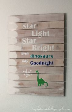 Simply Beautiful by Angela: DIY Dinosaur Plank Art and How to Paint Letters on Wood #artsandcrafts