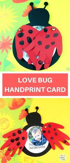 Love Bug Handprint Card - Invitatioin Card - Ideas of Invitatioin Card - Arty Crafty Kids Valentine's Day Crafts For Kids, Valentine Crafts For Kids, Valentines Day Activities, Diy For Kids, Holiday Crafts, Pancake Day Crafts For Toddlers, Crafts For Babies, Children Crafts, Valentine Ideas