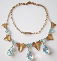 Edwardian Aquamarine And Gold Necklace