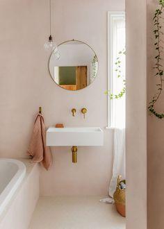 romantic home decor My tadelakt bathroom renovation Bathroom Renos, Bathroom Renovations, Bathroom Interior, Home Remodeling, Pastel Bathroom, Small Bathroom, Blush Bathroom, Feminine Bathroom, Pink Bathrooms