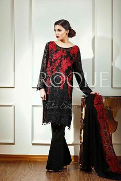 Baroque red and black shalwar kameez 3 pc sticthed by IrmaDesign