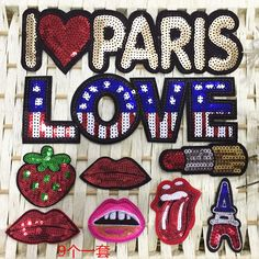 Free shipping 9pcs Mix design Sequins Patches For Clothes Embroidered Iron On Patch Stage Clothing Accessory Applique Badge