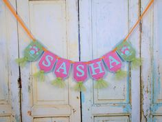 Custom Girl's Name Banner with Owls, Girl's Birthday Banner with Tulle, Owl Themed Baby Shower Banner, Owl Themed Birthday Decoration by PaperEtcStudio on Etsy