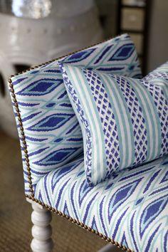 Furniture upholstered in John Robshaw Textiles.