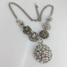 Rhinestone Necklace Silver tone Pendant Upcycled