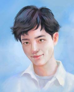 Xiao Zhan White Clouds, Portraits, Sky, Digital, Blue, Heaven, Portrait Paintings, Portrait, Portrait Photography