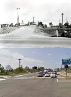 Parker Street rail bridge, Penrith in the 1970's and 2010.  [1970's: Penrith in Pictures/Penrith City Council - 2010: Google Street View/by Phil Harvey]