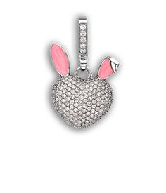Theo Fennell White Gold, Diamond & Pink Enamel Small Bunny 'Art Pendant