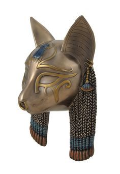 Egyptian Goddess Bastet Cat Head Mask Bronzed Wall Hanging   eBay