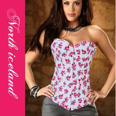 Sexy Small Flowers Denim Corset Women Sexy Lingerie Intimates Bustiers and Corsets Hot Sale Red Printed Corsets Dorothy Halloween Costume, Bustiers, Denim Corset, Corset Tops, Sexy Korsett, Sexy Women, Overbust Corset, Burlesque Corset, Waist Training Corset