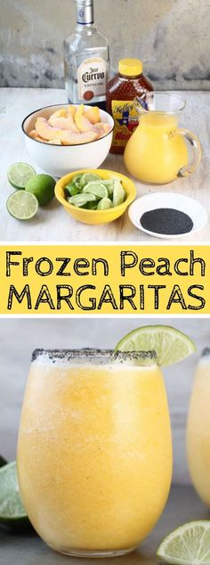 FROZEN PEACH MARGARITAS drink beverages is part of food_drink - Solidified Peach Margaritas are the ideal invigorating mixed drink Basic and simple with only a couple of fixings, ideal for gatherings and end of … Peach Margarita Recipes, Margarita Drink, Margarita Party, Mojito, Party Drinks, Wine Drinks, Cocktail Drinks, Cocktail Recipes, Cocktail Night