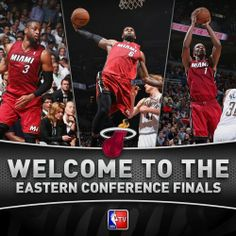 Congratulations to the Miami Heat, who are the first team to advance to the Conference Finals. Nba 2013, Heat Fan, Eastern Conference Finals, Who Is The First, Pro Basketball, Dwyane Wade, Nba Playoffs, Nba Champions, Miami Heat