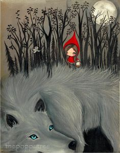 Little Red Riding Hood stampa Dark Forest di thepoppytree su Etsy