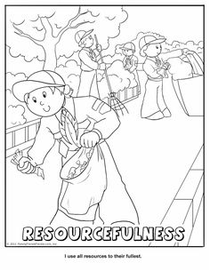 Resourcefulness Coloring Page.  Wolf Cub Achievement 7 - Your Living World.