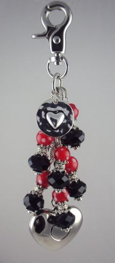 Red polka dot & black beads Heart charm (word LOVE) on back, purse light by Diva Dangles at www.divadangles.com