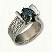 White Gold Celtic Meghan Style Mounting set with an Oval Green/Blue Sapphire Celtic Triangle, Celtic Engagement Rings, Green Sapphire, Celtic Designs, Rings Online, Diamond Gemstone, Celtic Knot, Wedding Bands, Heart Ring