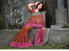 $179.60 Pink Brocade Latest Fashion Saree 20563 With Unstitched Blouse
