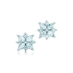 Tiffany Victoria™ cluster earrings with diamonds. #TiffanyPinterest #TiffanyWeddings