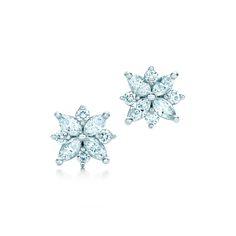 Tiffany Victoria™ cluster earrings with diamonds. #TiffanyPinterest #TiffanyWeddings