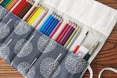 Cre-go Canvas Pencil Wrap, Pencils Roll Case Hold For 48 Colored Pencils (Pencils are not included)-Tree, 48 Hole Roll Up Pencil Case, Diy Pencil Case, Pencil Pouch, Pencil Case Pattern, Sewing Hacks, Sewing Crafts, Sewing Projects, Coloured Pencils, Learn To Sew