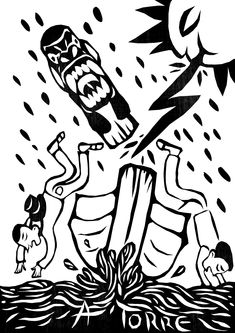 """A Torre- mudanças, subversões, desmoronamento e liberdade aparecem na figura da Carranca (a presença das carrancas era marcante na proa das embarcações do rio São Francisco, do final do século XIX até meados do século XX. As figuras """"zoantropomórficas"""", meio bicho e meio gente, eram assustadoras, mas com o poder de espantar mau-olhado, espíritos brincalhões, azar e assombrações, de acordo com os moradores locais."""