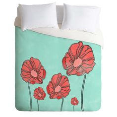 Allyson Johnson Red Poppies Duvet Cover | DENY Designs Home Accessories