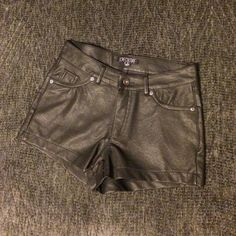 Chic black leather shorts. Never been worn. Black leather shorts Love Culture Shorts