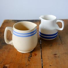 2 Blue-Striped Jugs: Carrigaline and Vintage Vintage China, Mugs, Unique Jewelry, Tableware, Handmade Gifts, Blue, Etsy, Kid Craft Gifts, Dinnerware
