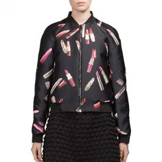Giamba Lipstick-Print Bomber Jacket as seen on Demi Lovato