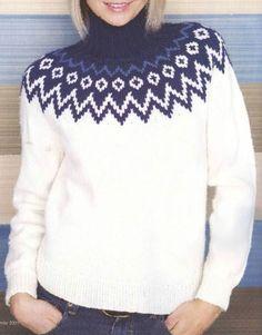 Fair Isle Knitting Patterns, Sweater Knitting Patterns, Knitting Designs, Knitting Stitches, Girls Sweaters, Sweaters For Women, Woolen Tops, Icelandic Sweaters, Sweater Design