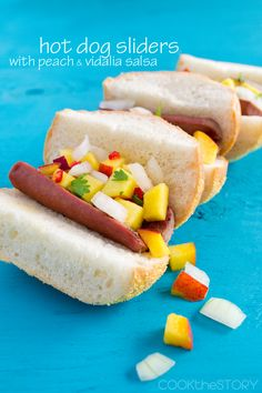 Hot Dog Sliders Topped with Peach and Vidalia Salsa