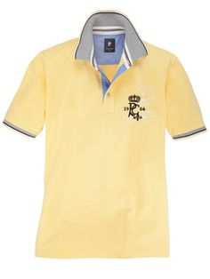 Pierre Cardin - Poloshirt in Gelb, mit farblich abgesetztem Kragen.