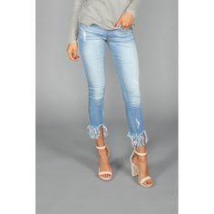 New Cropped Blue Frayed Denim Jeans