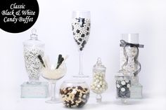 Classic Black and White Candy for your wedding buffet or formal event! Classy and modern plus you can easily add touches of color if needed! @bulkcandystore #BulkCandy #CandyBuffets #WeddingFavors #BlackandWhite