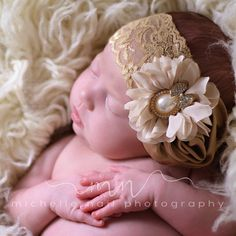 Ivory Headband/Beige Headband/Flower Girl Headband/Baby Headband/Infant Headband/Newborn Headband/Toddler Headband/Girls Headband by OohLaLaDivasandDudes on Etsy