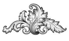 bordes decorativos: Vintage barroca floral de desplazamiento follaje ornamento filigrana grabado estilo retro elemento de diseño vectorial