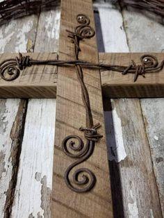 me ~ Rustic Cross Primitive Cross Wooden Cross Wall Hangings Wooden Crosses, Crosses Decor, Wall Crosses, Pallet Crafts, Pallet Art, Barb Wire Crafts, Barbed Wire Art, Cross Wall Decor, Rustic Cross