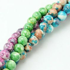 Ocean White Jade, Dyed Round 8mm Beads, Necklaces, Bracelets
