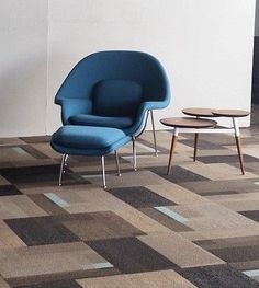 The @knolldesign Womb Chair and @patcraft Mid-Century Pop carpet tile = perfect match