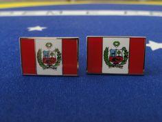 Peruvian Flag Cufflinks by LoudCufflinks on Etsy, $25.00
