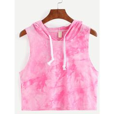 Hooded Tie-dye Pink Sleeveless Top ($6.99) ❤ liked on Polyvore featuring tops, pink, pink tie dye top, stretch top, tie dye vest, hooded top and pink vest