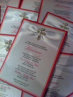 Cross Pink White Communion Confirmation Invitations M